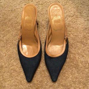 Christian Dior Denim Gold Buckle Pointy Toe Heels
